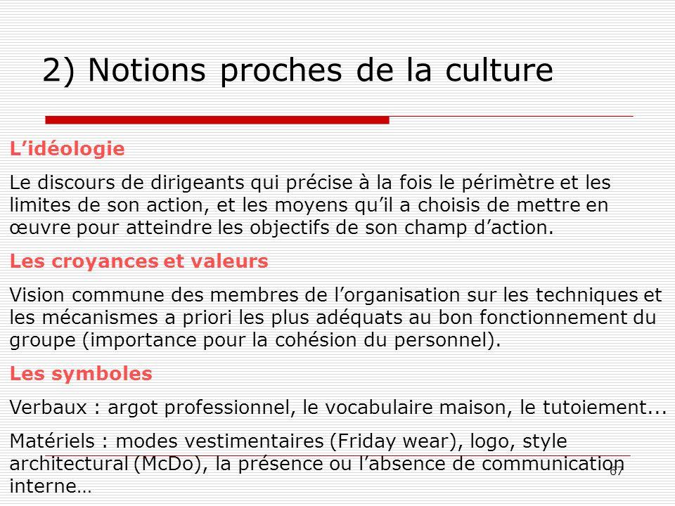 67 2) Notions proches de la culture Lidéologie Le discours de dirigeants qui précise à la fois le périmètre et les limites de son action, et les moyen