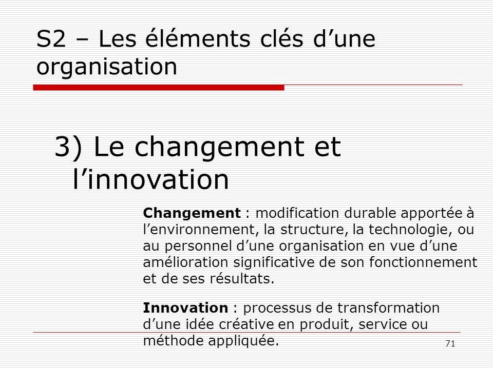 71 S2 – Les éléments clés dune organisation 3) Le changement et linnovation Changement : modification durable apportée à lenvironnement, la structure,