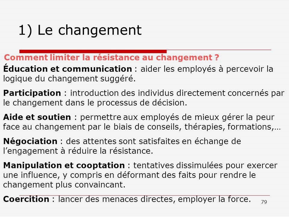 79 1) Le changement Comment limiter la résistance au changement ? Éducation et communication : aider les employés à percevoir la logique du changement