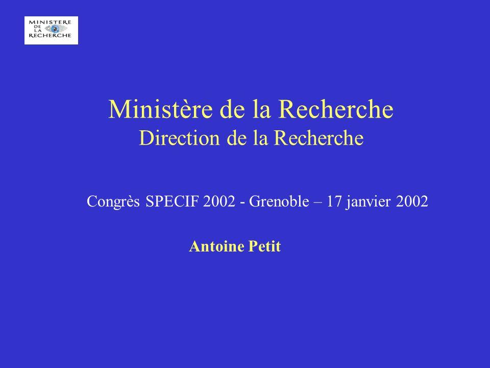 Ministère de la Recherche Direction de la Recherche Congrès SPECIF 2002 - Grenoble – 17 janvier 2002 Antoine Petit