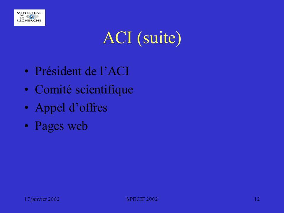 17 janvier 2002SPECIF 200212 ACI (suite) Président de lACI Comité scientifique Appel doffres Pages web