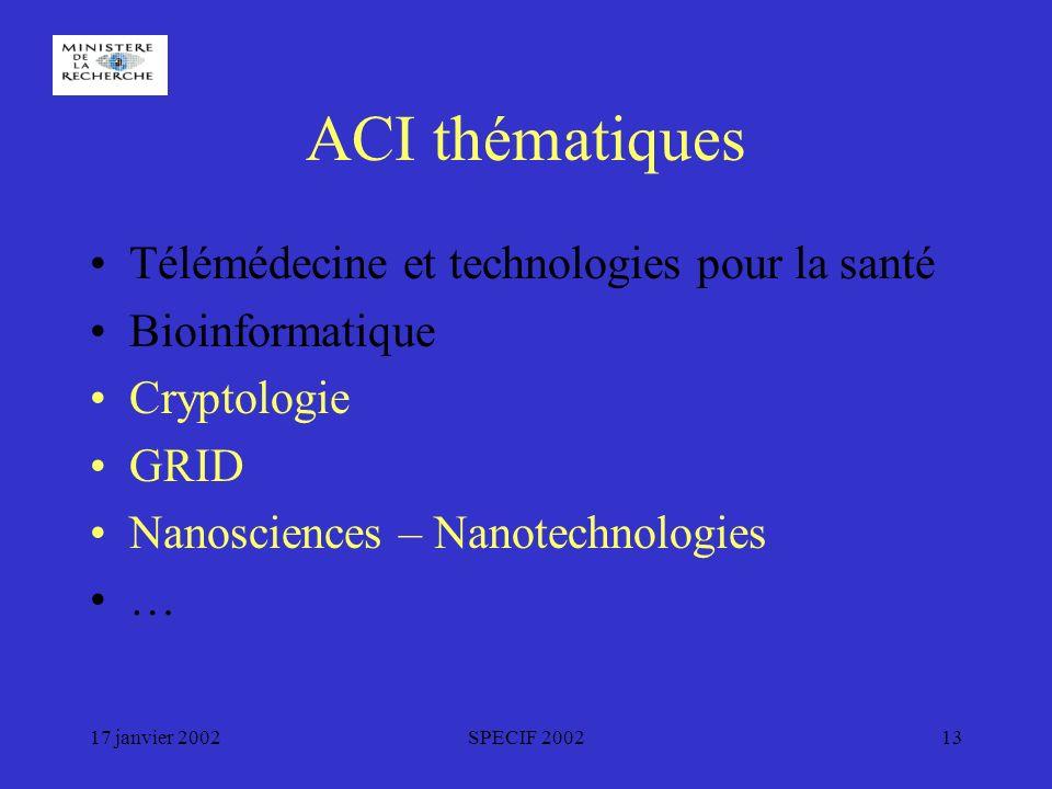 17 janvier 2002SPECIF 200213 ACI thématiques Télémédecine et technologies pour la santé Bioinformatique Cryptologie GRID Nanosciences – Nanotechnologies …