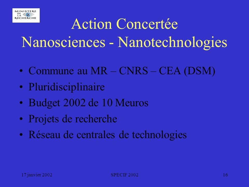 17 janvier 2002SPECIF 200216 Action Concertée Nanosciences - Nanotechnologies Commune au MR – CNRS – CEA (DSM) Pluridisciplinaire Budget 2002 de 10 Meuros Projets de recherche Réseau de centrales de technologies