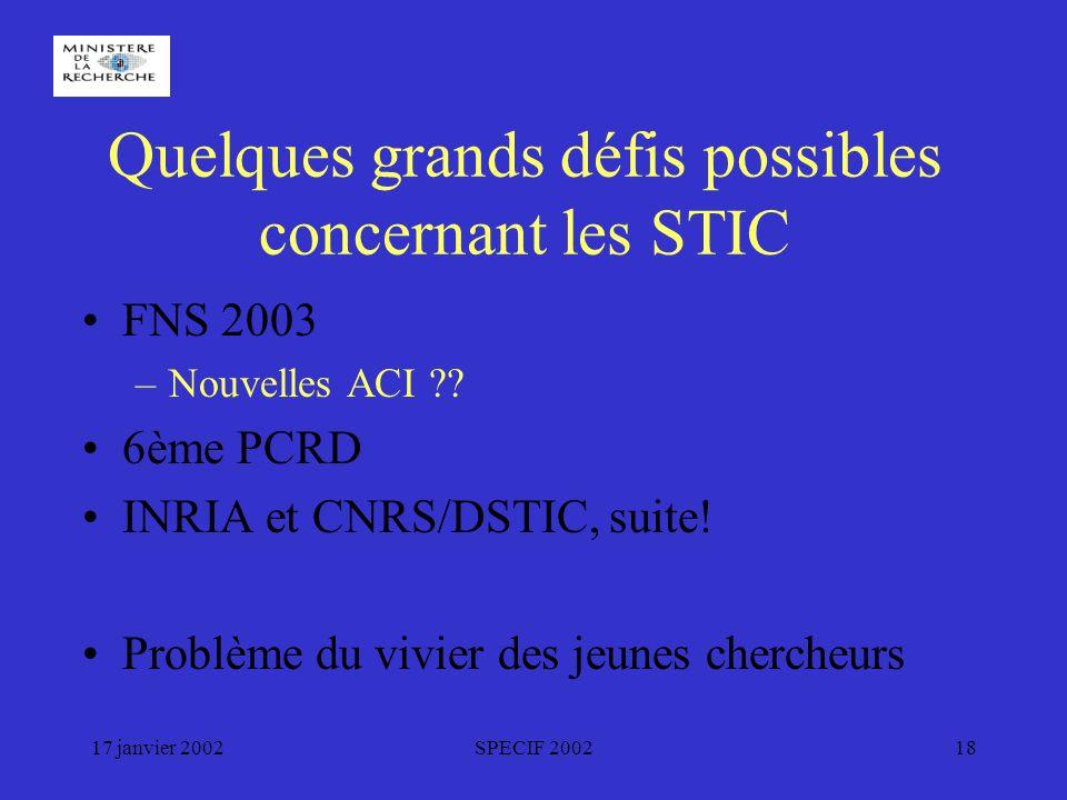 17 janvier 2002SPECIF 200218 Quelques grands défis possibles concernant les STIC FNS 2003 –Nouvelles ACI .