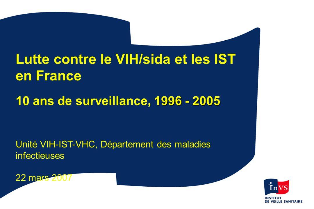 Lutte contre le VIH/sida et les IST en France 1996 - 2005 10 ans de surveillance, 1996 - 2005 Unité VIH-IST-VHC, Département des maladies infectieuses