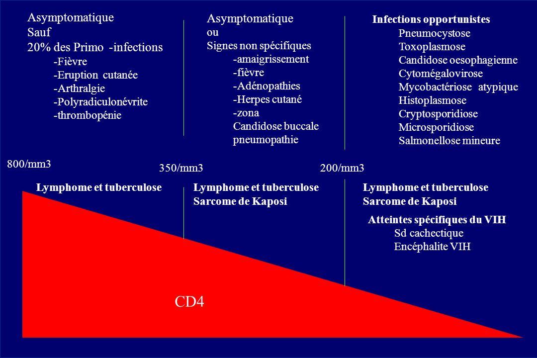 800/mm3 350/mm3200/mm3 Asymptomatique Sauf 20% des Primo-infections -Fièvre -Eruptioncutanée -Arthralgie -Polyradiculonévrite -thrombopénie Lymphome e