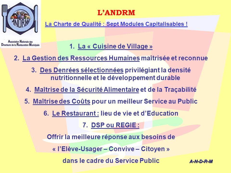 LANDRM La Charte de Qualité : Sept Modules Capitalisables ! A-N-D-R-M A-N-D-R-M 1.La « Cuisine de Village » 2.La Gestion des Ressources Humaines maîtr