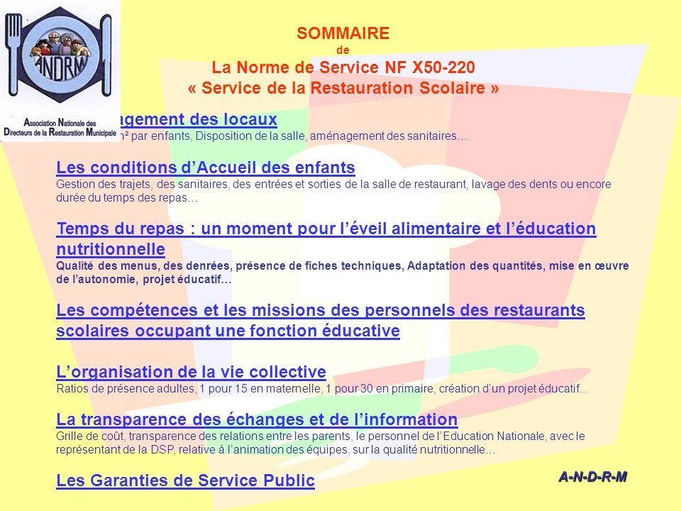 SOMMAIRE de La Norme de Service NF X50-220 « Service de la Restauration Scolaire » A-N-D-R-M A-N-D-R-M Laménagement des locaux Nombre de m² par enfant