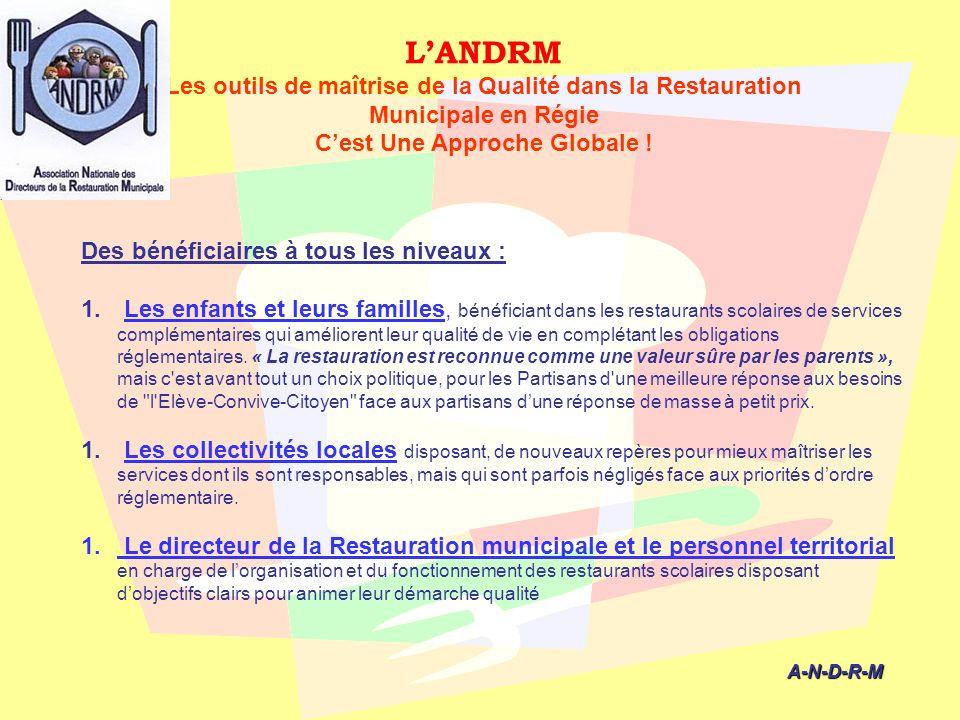 LANDRM Les outils de maîtrise de la Qualité dans la Restauration Municipale en Régie Cest Une Approche Globale ! A-N-D-R-M A-N-D-R-M Des bénéficiaires