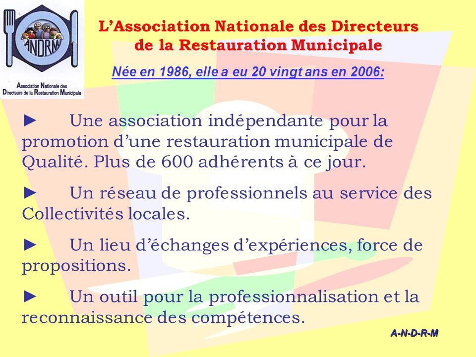 LAssociation Nationale des Directeurs de la Restauration Municipale Une association indépendante pour la promotion dune restauration municipale de Qua