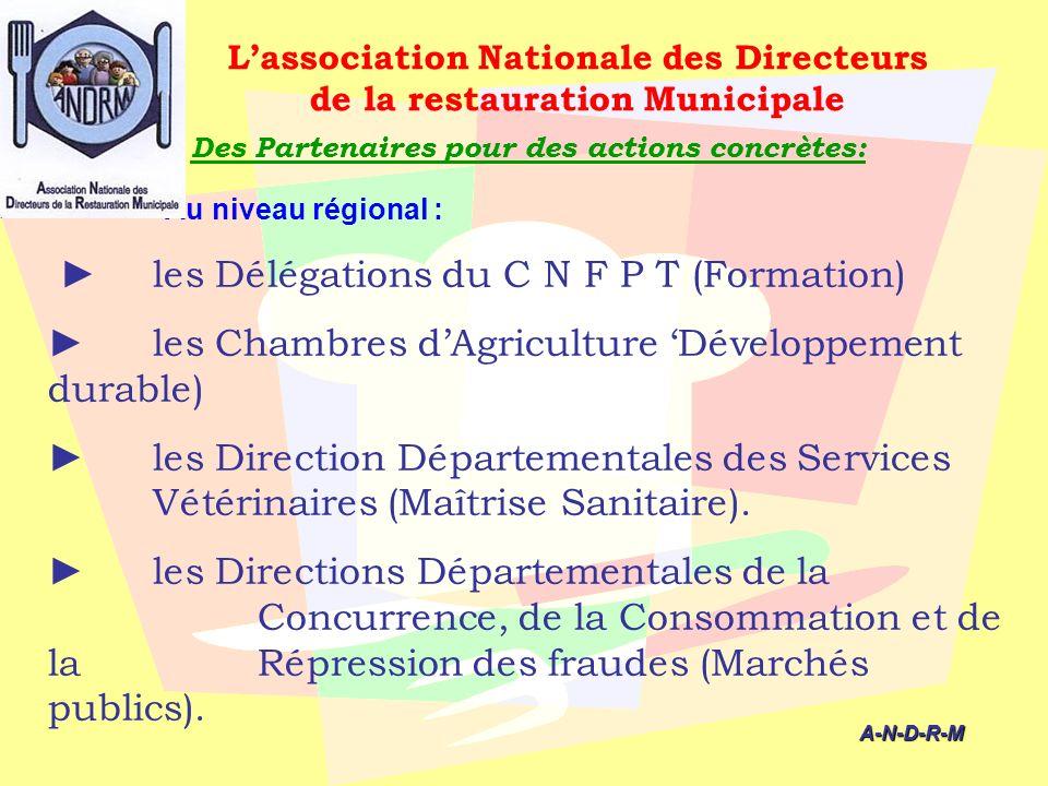 Des Partenaires pour des actions concrètes: Au niveau régional : les Délégations du C N F P T (Formation) les Chambres dAgriculture Développement dura