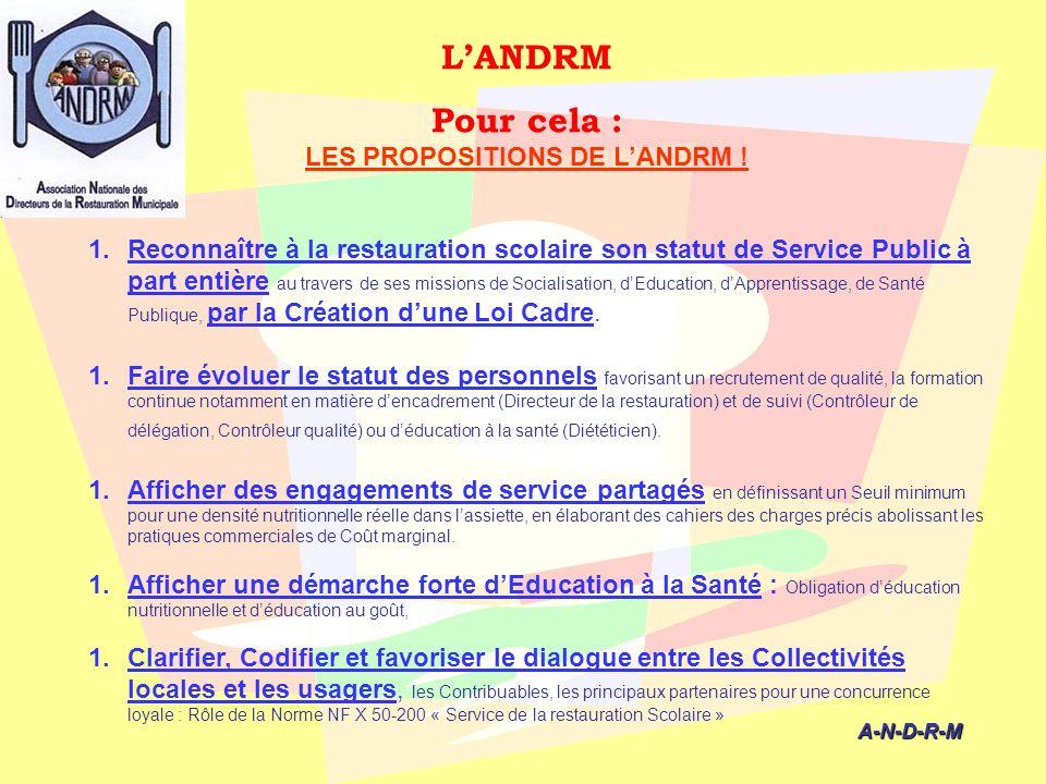 LANDRM Pour cela : LES PROPOSITIONS DE LANDRM ! A-N-D-R-M A-N-D-R-M 1.Reconnaître à la restauration scolaire son statut de Service Public à part entiè