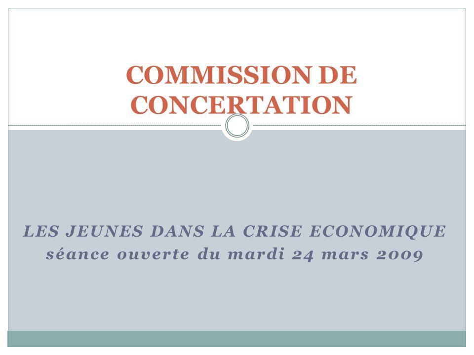 LES JEUNES DANS LA CRISE ECONOMIQUE séance ouverte du mardi 24 mars 2009 COMMISSION DE CONCERTATION