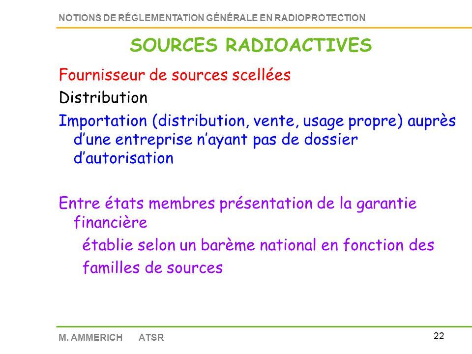 21 NOTIONS DE RÉGLEMENTATION GÉNÉRALE EN RADIOPROTECTION M. AMMERICH ATSR Reprise des sources scellées en fin d utilisation (10 ans) par le fournisseu