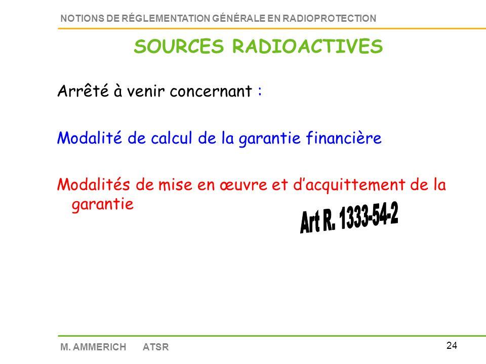 23 NOTIONS DE RÉGLEMENTATION GÉNÉRALE EN RADIOPROTECTION M. AMMERICH ATSR Décisions ASN à venir concernant : Lenregistrement des radionucléides Les rè