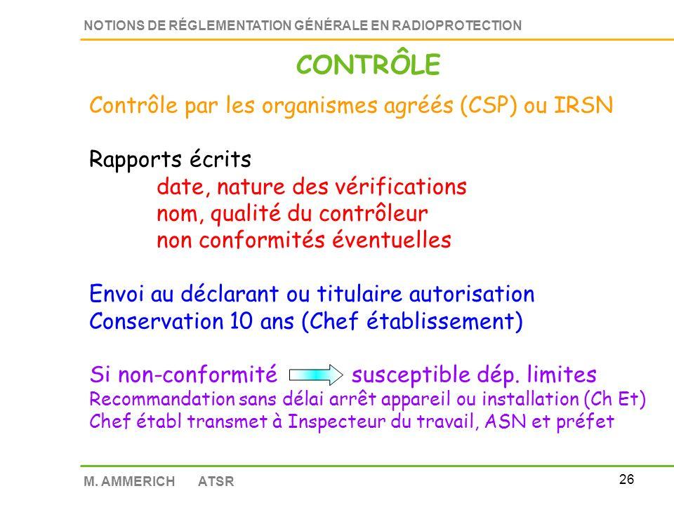 25 NOTIONS DE RÉGLEMENTATION GÉNÉRALE EN RADIOPROTECTION M. AMMERICH ATSR CONTRÔLE Contrôle par les organismes agréés (CSP) ou IRSN Efficacité de lorg