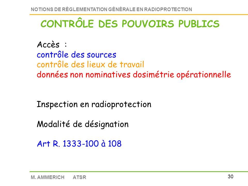 29 NOTIONS DE RÉGLEMENTATION GÉNÉRALE EN RADIOPROTECTION M. AMMERICH ATSR Contrôle par les agents de l état L1421-1 du Code de la Santé publique Plus