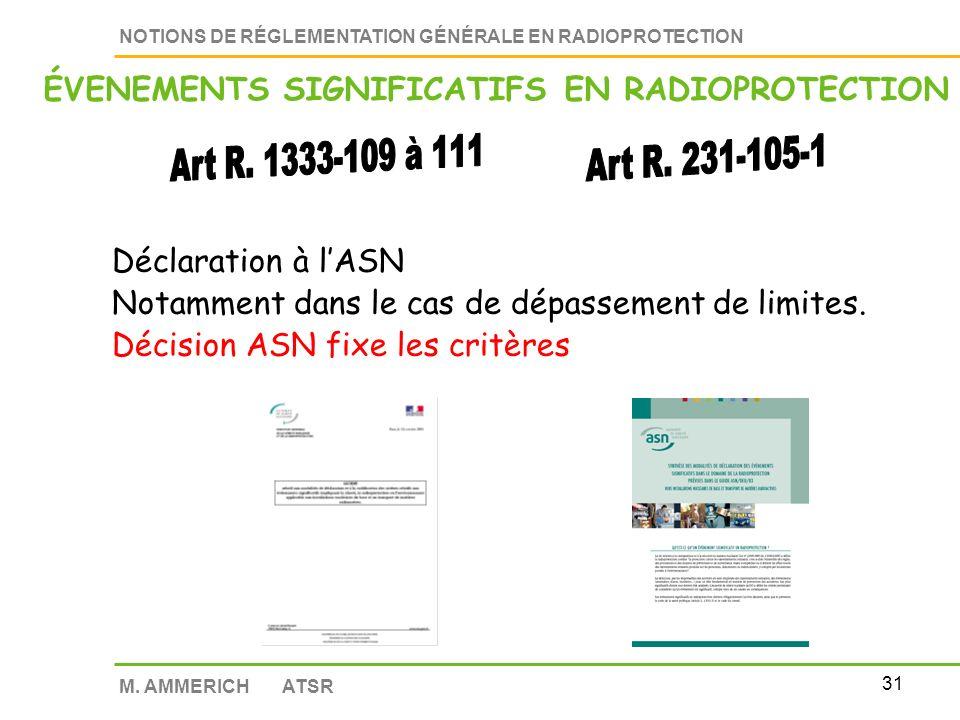 30 NOTIONS DE RÉGLEMENTATION GÉNÉRALE EN RADIOPROTECTION M. AMMERICH ATSR CONTRÔLE DES POUVOIRS PUBLICS Accès : contrôle des sources contrôle des lieu