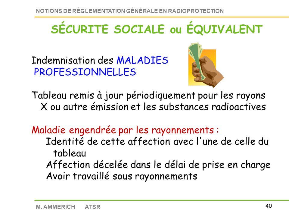 39 NOTIONS DE RÉGLEMENTATION GÉNÉRALE EN RADIOPROTECTION M. AMMERICH ATSR Interlocuteur PRIVILÉGIÉ et autorité administrative de l'employeur Sollicité