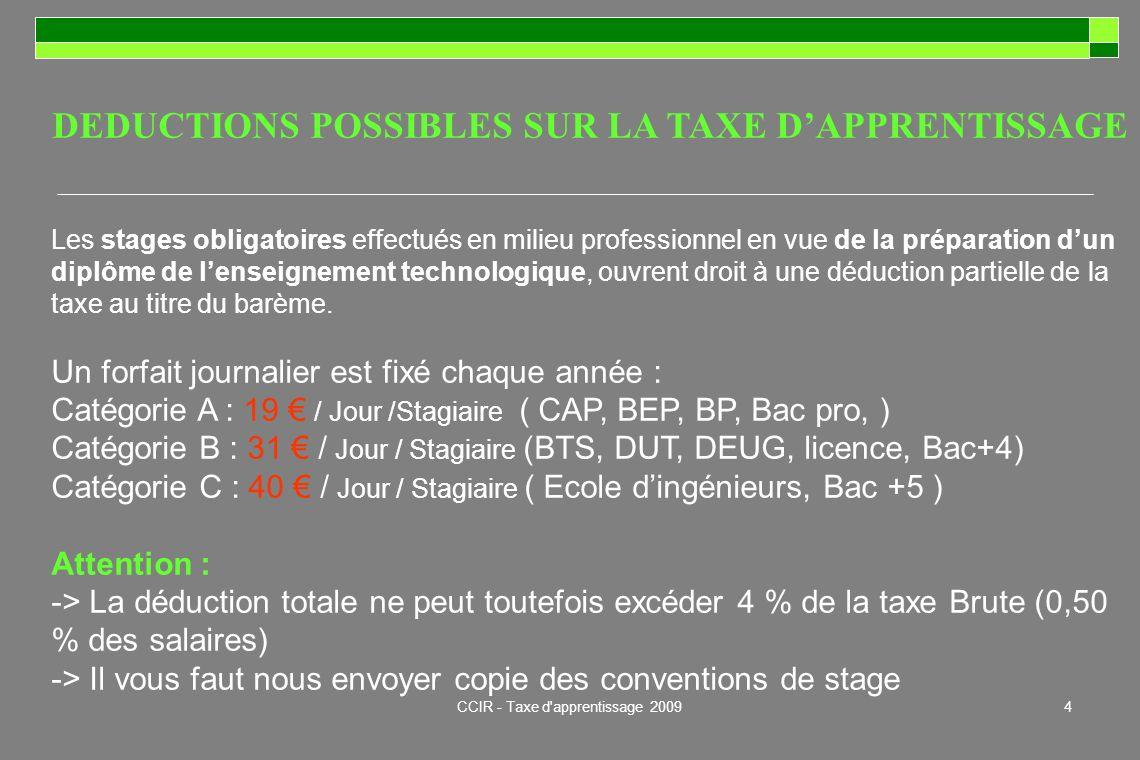 CCIR - Taxe d'apprentissage 20094 DEDUCTIONS POSSIBLES SUR LA TAXE DAPPRENTISSAGE Les stages obligatoires effectués en milieu professionnel en vue de