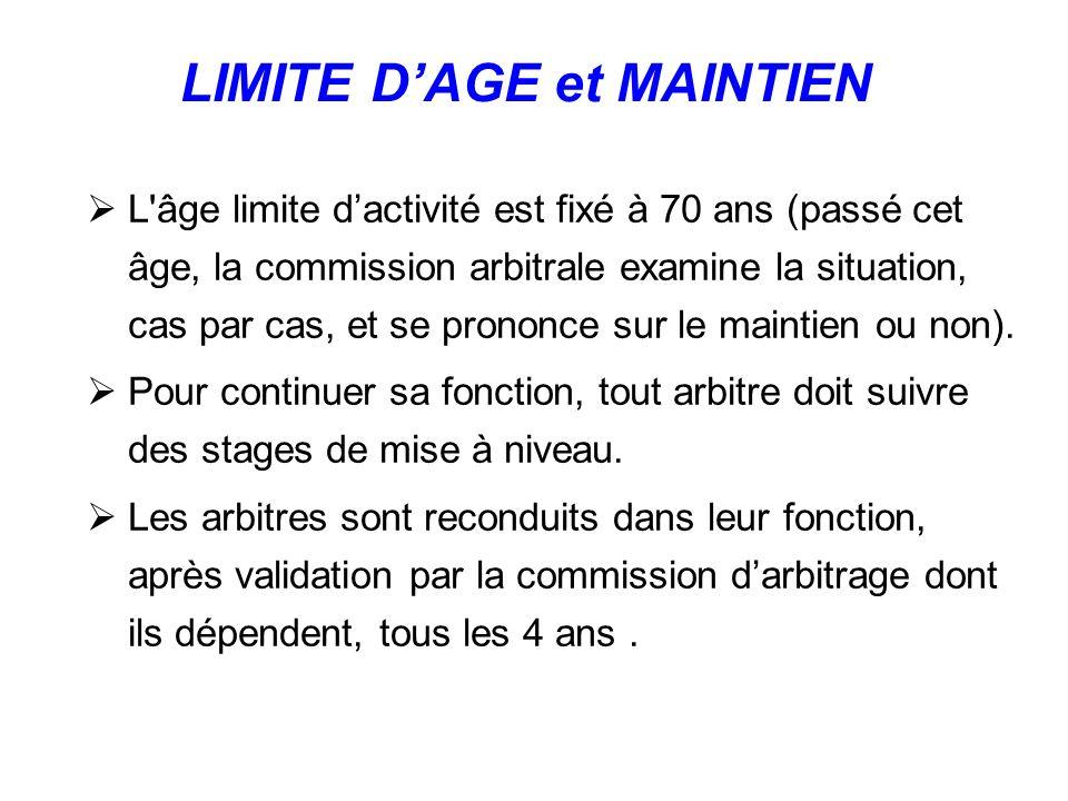 L âge limite dactivité est fixé à 70 ans (passé cet âge, la commission arbitrale examine la situation, cas par cas, et se prononce sur le maintien ou non).