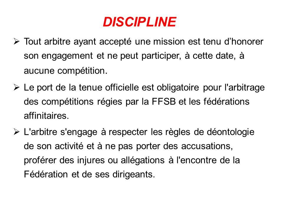 Tout arbitre ayant accepté une mission est tenu dhonorer son engagement et ne peut participer, à cette date, à aucune compétition.