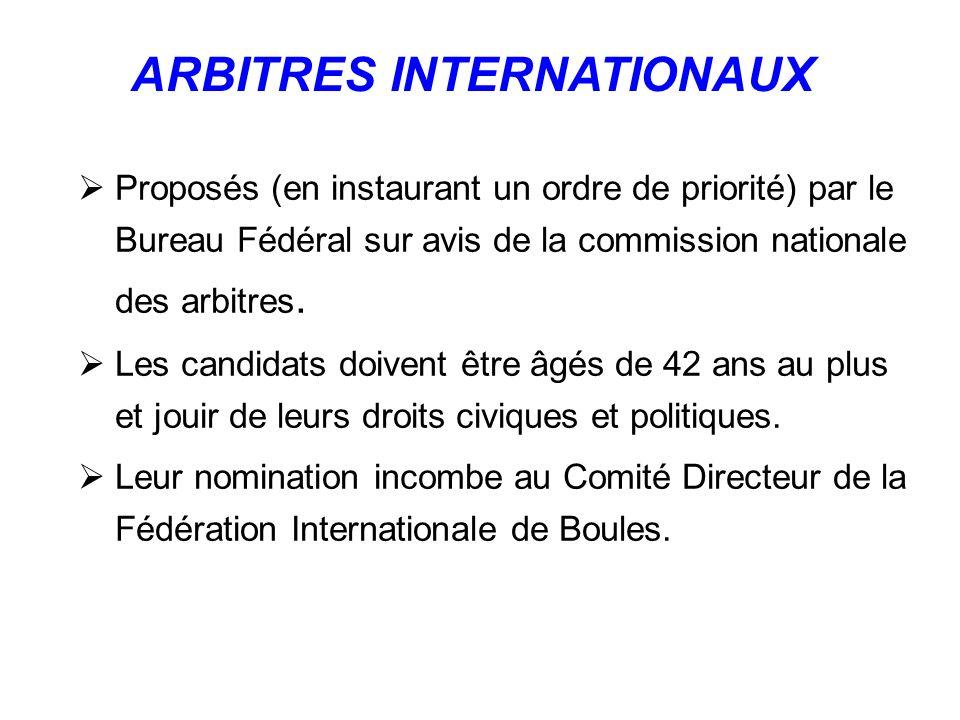 Proposés (en instaurant un ordre de priorité) par le Bureau Fédéral sur avis de la commission nationale des arbitres.