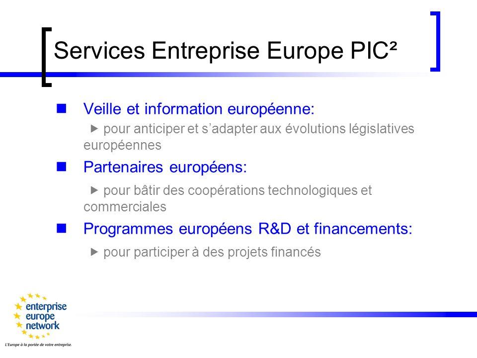 Services Entreprise Europe PIC² Veille et information européenne: pour anticiper et sadapter aux évolutions législatives européennes Partenaires européens: pour bâtir des coopérations technologiques et commerciales Programmes européens R&D et financements: pour participer à des projets financés