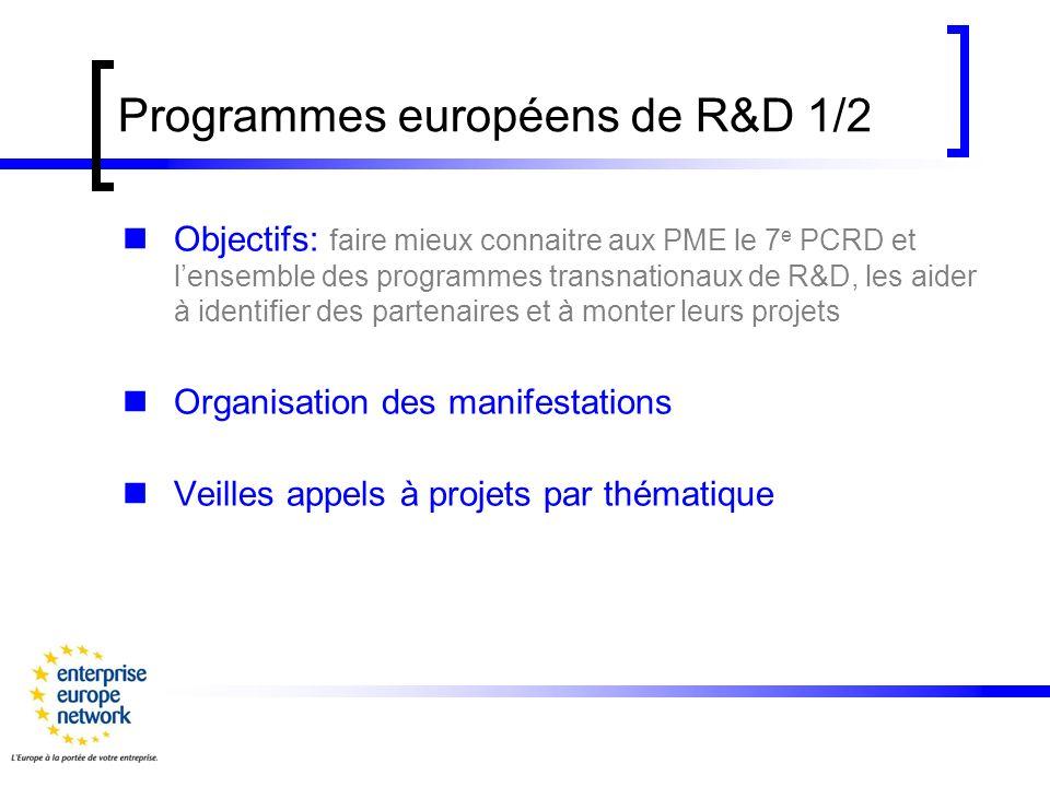 Programmes européens de R&D 1/2 Objectifs: faire mieux connaitre aux PME le 7 e PCRD et lensemble des programmes transnationaux de R&D, les aider à identifier des partenaires et à monter leurs projets Organisation des manifestations Veilles appels à projets par thématique