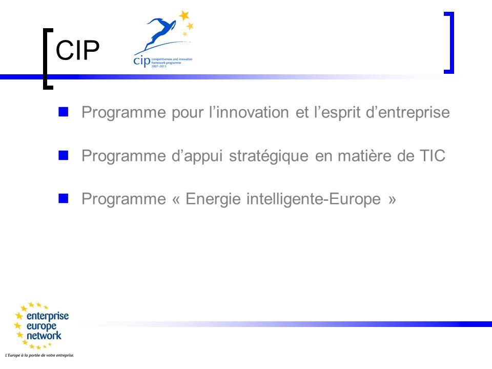 Programme pour linnovation et lesprit d entreprise Accès au crédit pour la PME Enterprise Europe Network Soutien aux initiatives visant à encourager lesprit dentreprise et linnovation Eco-innovation Soutien à lélaboration des politiques + =