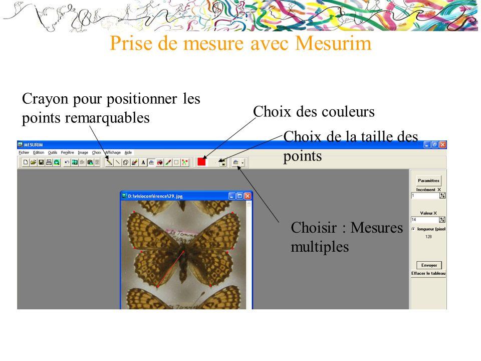 Prise de mesure avec Mesurim Choix des couleurs Crayon pour positionner les points remarquables Choisir : Mesures multiples Choix de la taille des poi