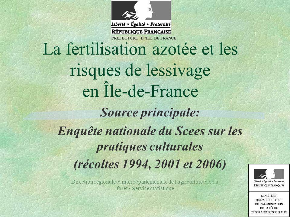 « Enquête sur les pratiques culturales » 15000 à 21000 parcelles étudiées en France; 720 et 700 en Ile-de-France en 2001 et 2006.