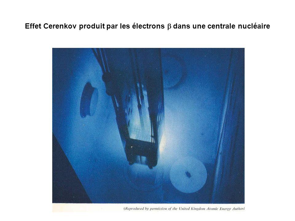 Effet Cerenkov produit par les électrons dans une centrale nucléaire