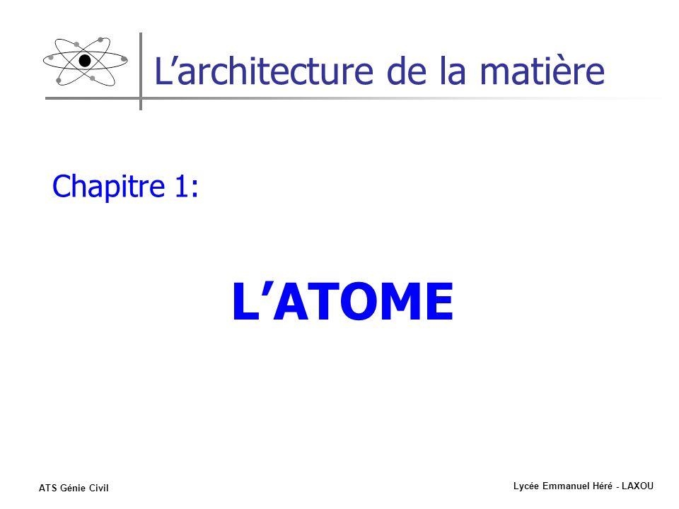 Lycée Emmanuel Héré - LAXOU ATS Génie Civil Larchitecture de la matière Chapitre 1: LATOME