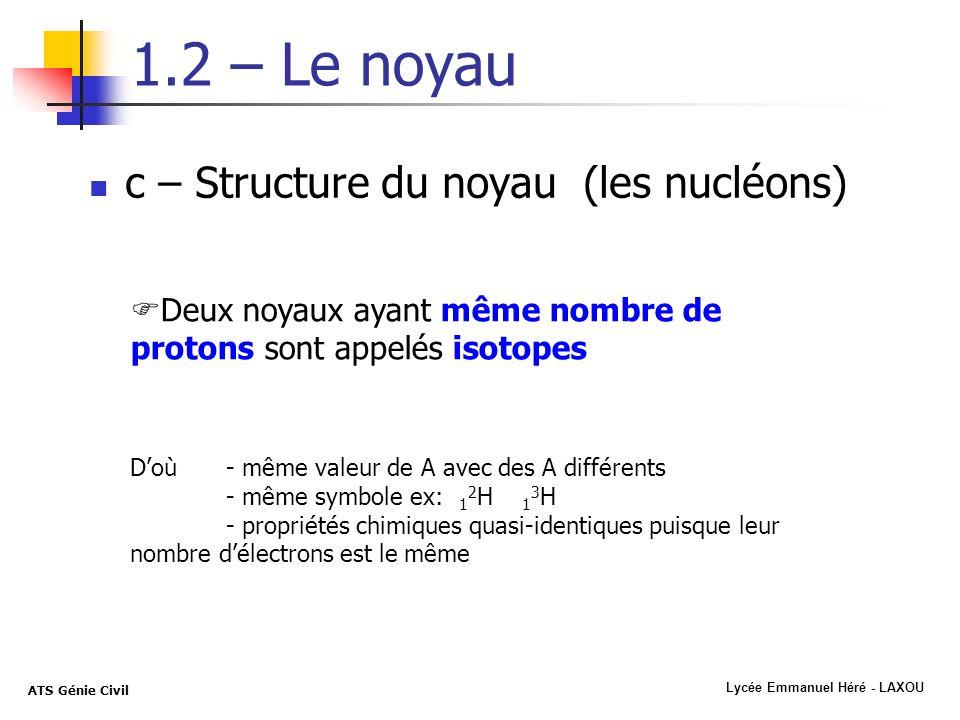 Lycée Emmanuel Héré - LAXOU ATS Génie Civil 1.2 – Le noyau c – Structure du noyau (les nucléons) Deux noyaux ayant même nombre de protons sont appelés