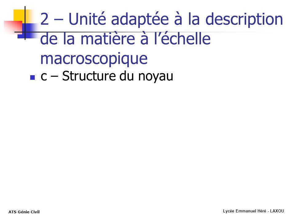 Lycée Emmanuel Héré - LAXOU ATS Génie Civil 2 – Unité adaptée à la description de la matière à léchelle macroscopique c – Structure du noyau