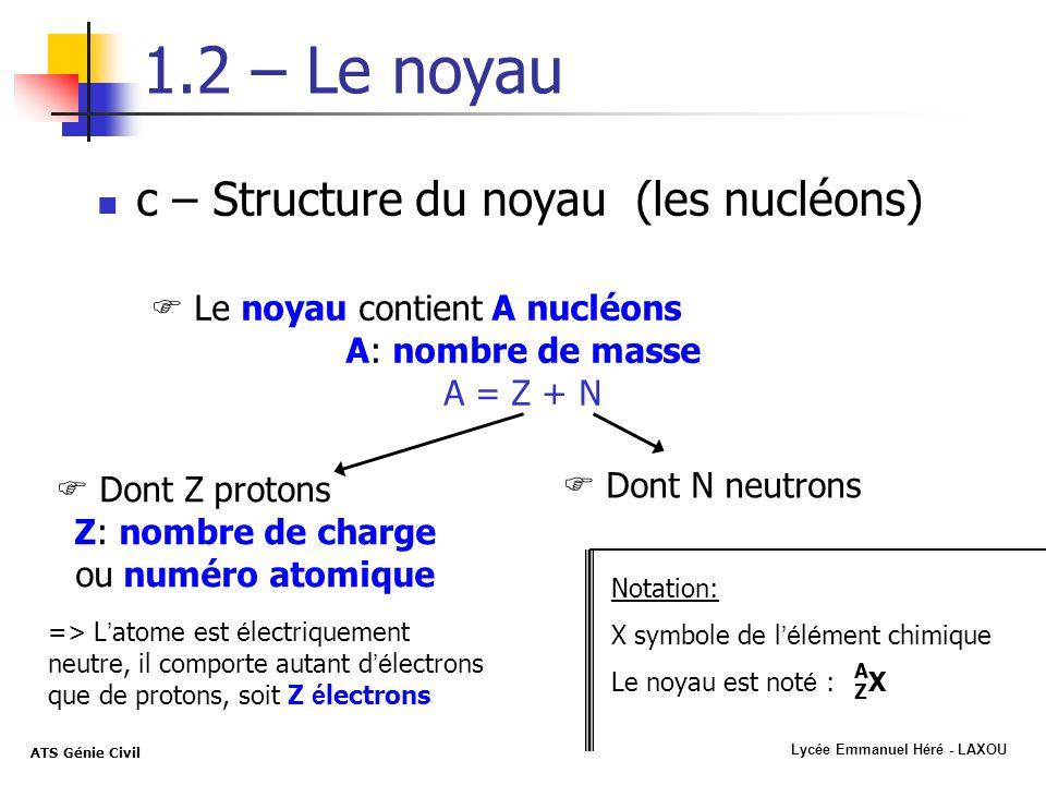 Lycée Emmanuel Héré - LAXOU ATS Génie Civil 1.2 – Le noyau c – Structure du noyau (les nucléons) Le noyau contient A nucléons A: nombre de masse A = Z