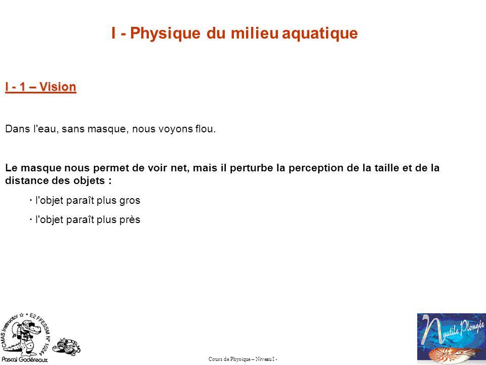 Cours de Physique – Niveau I - I - Physique du milieu aquatique I - 1 – Vision Dans l'eau, sans masque, nous voyons flou. Le masque nous permet de voi