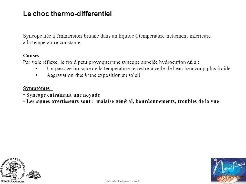 Cours de Physique – Niveau I - Le choc thermo-differentiel Syncope liée à l'immersion brutale dans un liquide à température nettement inférieure à la