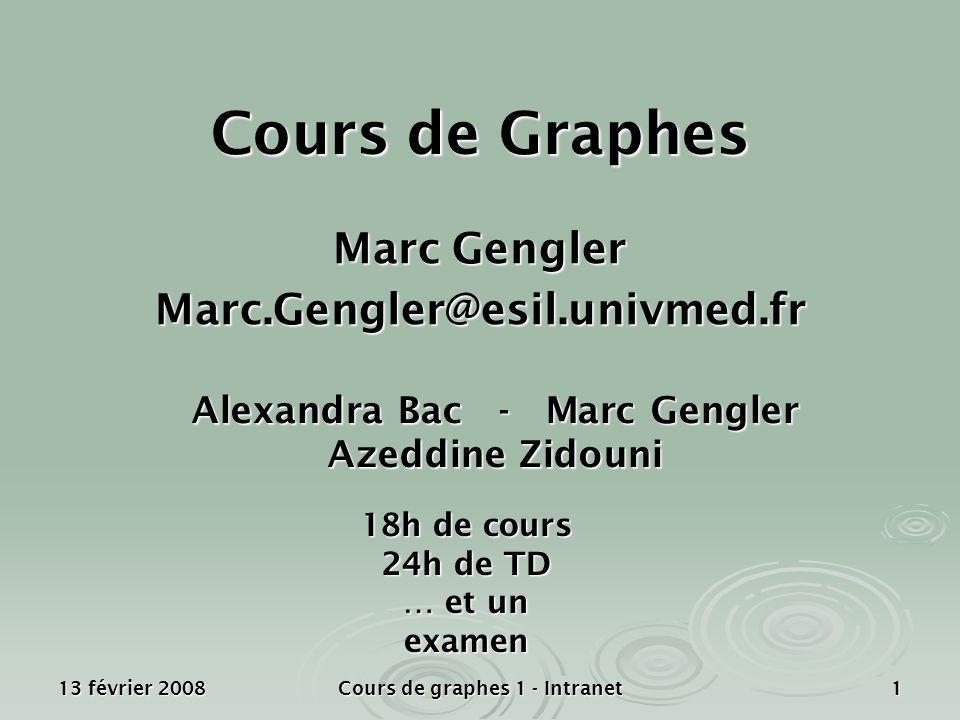 13 février 2008 Cours de graphes 1 - Intranet 1 Cours de Graphes Marc Gengler Marc.Gengler@esil.univmed.fr 18h de cours 24h de TD … et un examen Alexa