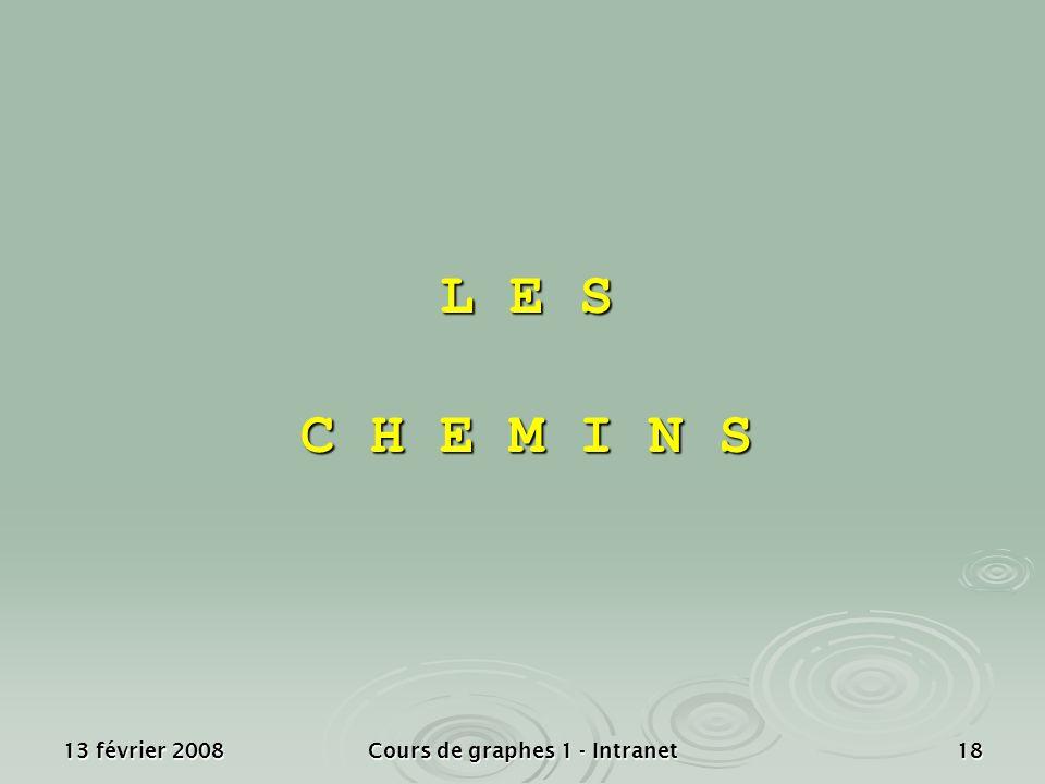 13 février 2008Cours de graphes 1 - Intranet18 L E S C H E M I N S