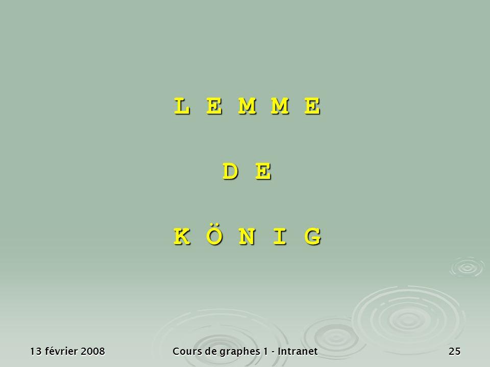 13 février 2008Cours de graphes 1 - Intranet25 L E M M E D E K Ö N I G
