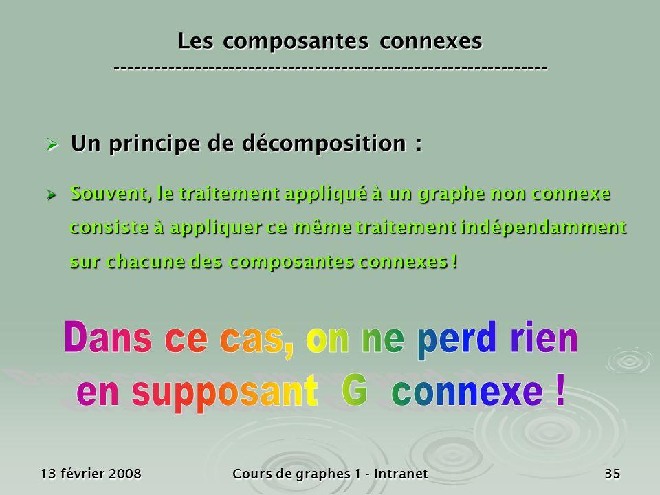 13 février 2008Cours de graphes 1 - Intranet35 Un principe de décomposition : Un principe de décomposition : Souvent, le traitement appliqué à un grap