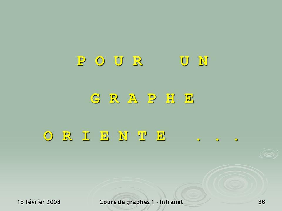 13 février 2008Cours de graphes 1 - Intranet36 P O U R U N G R A P H E O R I E N T E...