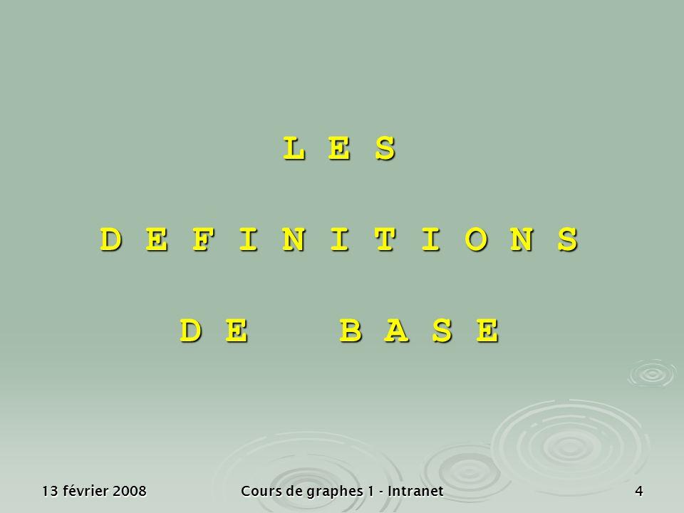 13 février 2008Cours de graphes 1 - Intranet4 L E S D E F I N I T I O N S D E B A S E