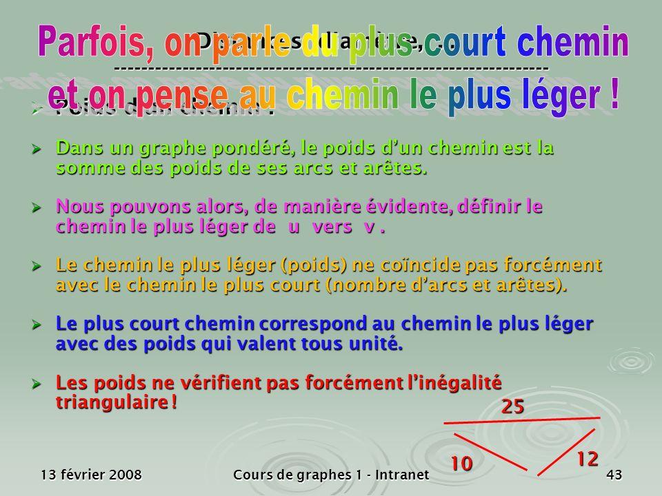 13 février 2008Cours de graphes 1 - Intranet43 Poids dun chemin : Poids dun chemin : Dans un graphe pondéré, le poids dun chemin est la somme des poid