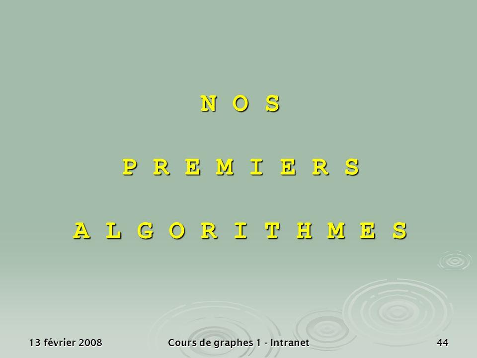 13 février 2008Cours de graphes 1 - Intranet44 N O S P R E M I E R S A L G O R I T H M E S