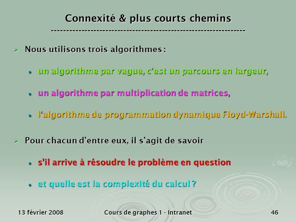 13 février 2008Cours de graphes 1 - Intranet46 Nous utilisons trois algorithmes : Nous utilisons trois algorithmes : un algorithme par vague, cest un