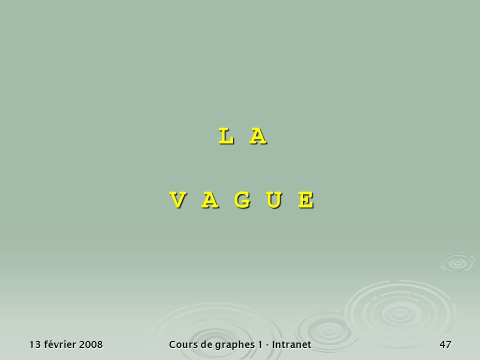 13 février 2008Cours de graphes 1 - Intranet47 L A V A G U E