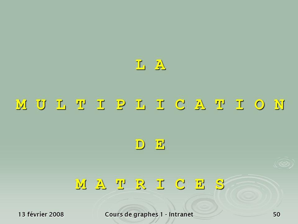 13 février 2008Cours de graphes 1 - Intranet50 L A M U L T I P L I C A T I O N D E M A T R I C E S